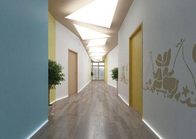Gallery sezione  Residenzialità. Rendering corridoio.