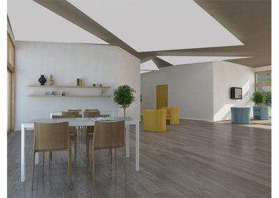 Gallery sezione  Residenzialità. Rendering salone attività comuni.