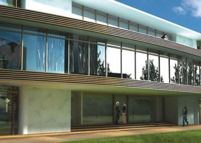 Gallery sezione progetto. Immagine rendering vetrata esterno.